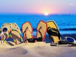 Summer Sandals in the Sand Still Life