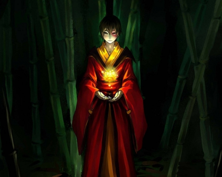 Heart of Fire - glow, guy, zuko, magic, eerie, horror, avatar, bamboo, avatar the last airbender, creepy, fantasy, scare, anime, darkness, bender, handsome, scary, light, male, boy, dark, avatar legend of aang, sinister