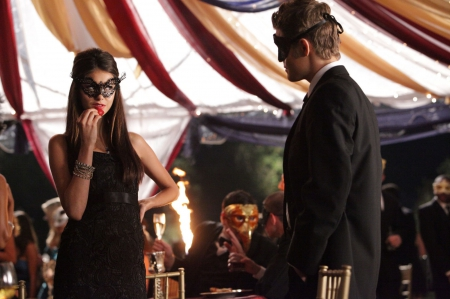 Vampire Diaries (2009-) - dress, costume, vampire diaries, woman, masquerade, ball, fantasy, actress, love, tv series, beauty, couple, nina dobrev, black, man, elena, girl, paul wesley, mask, creature, actor