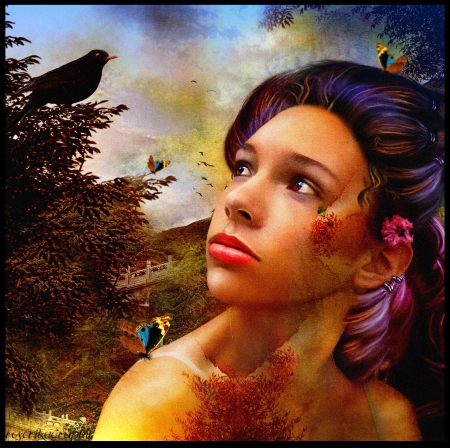 ~Portrait with Butterflies~ - pretty, charm, contest, beautiful, digital art, women, hair, fantasy, photomanipulation, emotional, people, girls, animals, female, models, raven, lovely, birds, butterflies, trees, makeup, plants, crow, portrait, lady, backgrouds