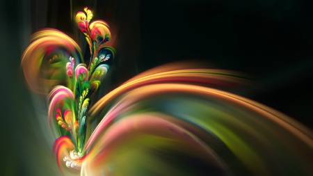beautiful flower - flower, colorful, 3d, burst