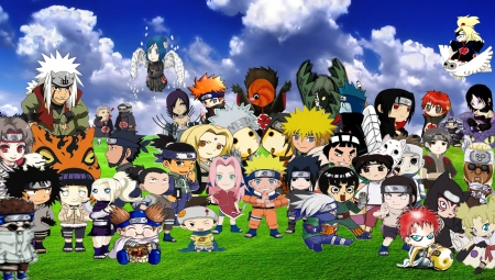 Naruto Chibi - jiraiya, friend, sasuke, uchiha, adorable, lee, group, kanon, anime, uzumaki, madara, temari, anime girl, team, ninja, sakura, sky, chibi, gaara, cute, hokage, field, naruto, neji, tobi, shinobi, female, cloud, male, akatsuki, kawaii, boy, girl, kakashi, hinata, mask