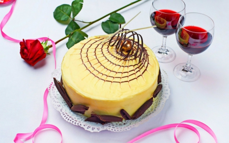 Cake - cake, sweets, food, rose, wineglass, ribbons, desserts