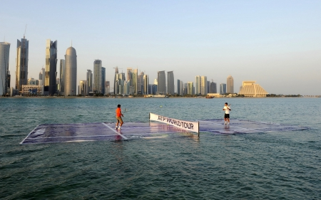 Tennis On The Sea - photo, qatar, Rafael Nadal, tennis, sea, Roger Federer