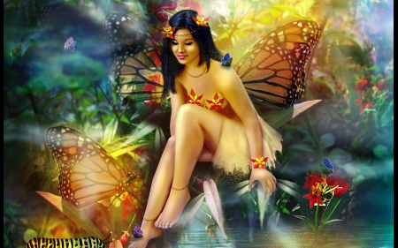 Butterfly Fairy - flowers, butterflies, fantasy, fairy