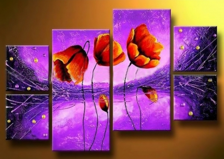 ABSTRACT OF FLOWER PLACKS - stars, orange, space, abstracts, collage, digital art, field flowers, fantasy, purple, flowers