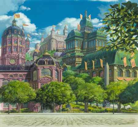 Howl's Moving Castle - movie, anime, castle, scenery, miyazaki
