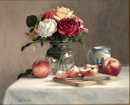 Still Life Fruit And Roses