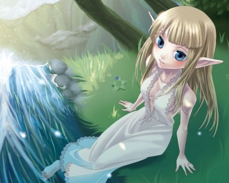 Zelda - pretty, dress, blond, princess zelda, hd, video game, game, nice, anime, hot, anime girl, long hair, pointy ears, blue eyes, lovely, elf, legend of zelda, blonde, blonde hair, sexy, swet, rpg, blond hair, the legend of zelda, cute, water, girl, zelda, petals, princess
