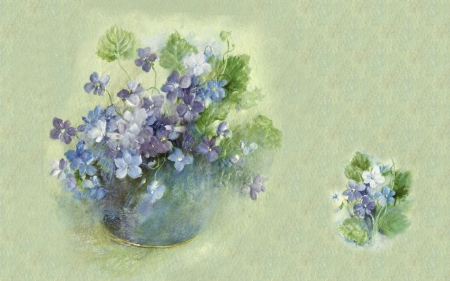 Sweet Violets 1F - art, romance, violets, artwork, floral, love, painting, wide screen, flower, beauty