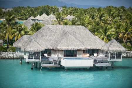 St Regis Royal Water Villa Suite Bora Bora - polynesia, hut, reef, french, retreat, bungalow, atoll, lagoon, beach, bungalows, luxury, huts, islands, desert, resport, holiday, ocean, pacific, south, water, paradise, jacuzzi, white, stilts, beautiful, villa, sea, bora bora, sand, hot, room, blue, exotic, ral, escape, suite, tub, st regis, island, tropical, tahiti, villas