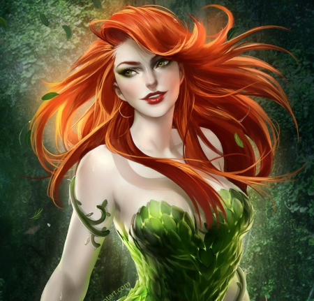 *IVY CLOSE-UP* - pretty, dress, redhead, charm, beautiful, digital art, hair, fantasy, paintings, beauty, face, girls, drawings, female, lovely, green dress, ivy close-up, lady