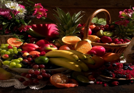 Still Life Fruit and Flowers - red, raspberries, strawberry, life, orange, bananas, still, abstract, oranges, fruit, grapes, green, purple, flowers, pink