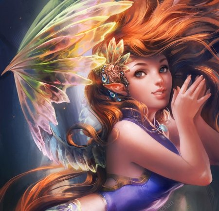 *Pretty IFX Fairy* - pretty, dress, redhead, charm, beautiful, digital media, sweet, hair, paintings, anime, face, girls, drawings, fairy, other, female, wings, lovely, manga, colors, cute, cool
