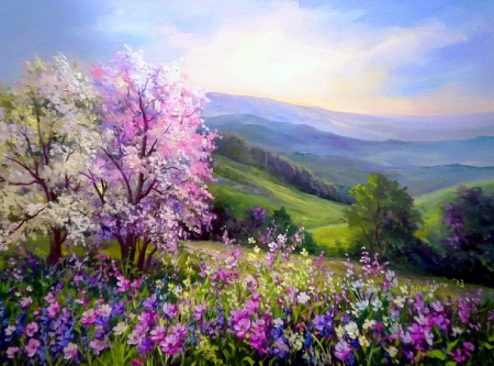 Spring - pretty, sunny, shine, beautiful, fragrance, mountain, nice, painting, flowers, beauty, light, art, hills, lovely, sunlight, colors, scent, spring, sky, trees, freshness, rays, purple, slope, blossoms, flowering, blooming, meadow, field, landscape