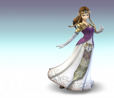 Zelda - dress, princess zelda, hd, cg, video game, game, anime, anime girl, realistic, long hair, blue eyes, brown hair, gown, legend of zelda, rpg, the legend of zelda, plain, 3d, zelda, simple, princess