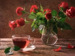 red roses & cup of tea
