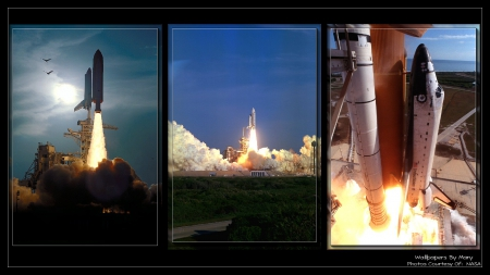 Launch Collage 1920x1080 - Rockets, SpaceShuttle, Orbit, BlastingOff, Space