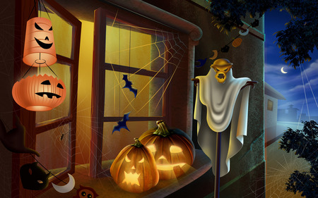 Horror Halloween - halloween, pumpkin faces, bats, night, window