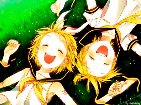 Be Happy - vocaloid, len, be, happy, boy, girl, rin, anime, kagamine