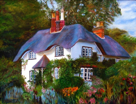 English Cottage - house, painting, flowers, garden, nature, trees