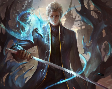 Vergil - guy, white hair, eerie, horror, devil may cry, spiky hair, blade, spooky, anime, gloomy, handsome, hot, weapon, sword, male, sexy, short hair, armor, vergil, boy, cool, warrior, silver hair, sinister, devil, dmc