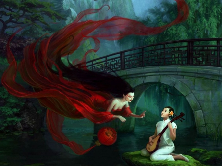 Music Fairy - musician, artwork, red, bridge