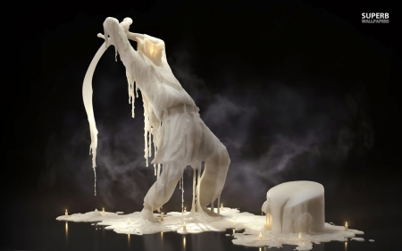 MELTING WAX - wax, odd, strange, digital art, sculpture, candles, fantasy, weird, surreal, white