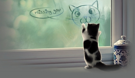 Missing You - Lovely, Cats, Animals, cute