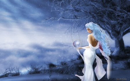 White Witch - pretty, witch, female, beautiful, sky, woman, clouds, fantasy, magical, crystal ball, lady, white, blue