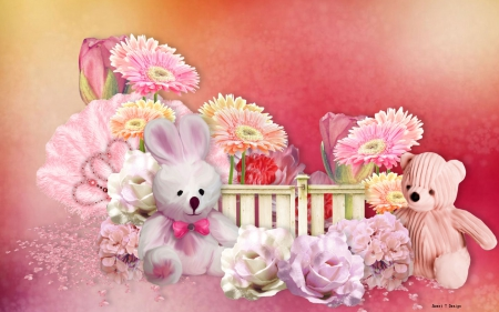 Fuzzy Friends - rabbit, yellow, cute, fuzzy, green, flowers, bunny, white, teddy bear, pink, feathers, friends