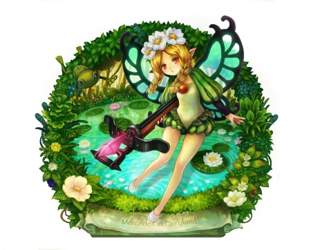 Mercedes - game, floral, anime, anime girl, mercedes, weapon, long hair, archer, fairy, blonde, odin sphere, sexy, braids, cute, water, lily, white, lotus, hd, blond, video game, bow, arrow, hot, female, water lily, blonde hair, twintails, rpg, blond hair, pond, girl, flower, simple