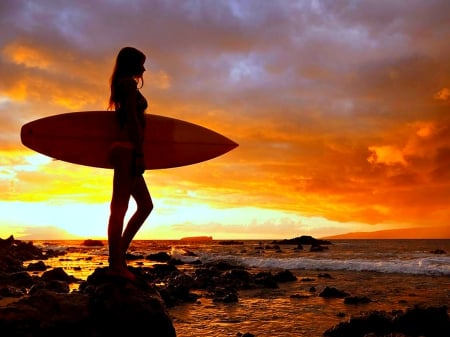 Surfer At Sunset Other People Background Wallpapers On