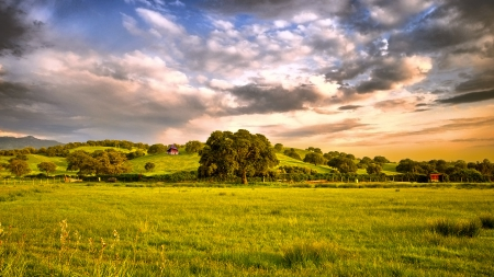 beautiful pastureland - hills, trees, clouds, pastures
