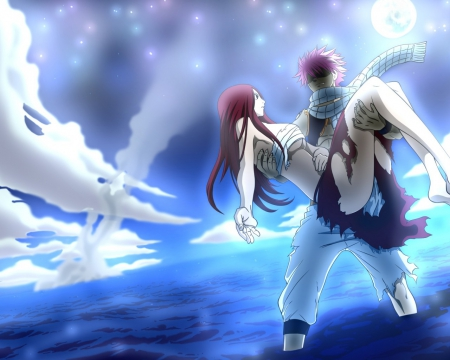 Natsu and Erza - stars, firefiles, ocean, natsu, erza, red hair, sky, carrying, angry, sea, fairy tail, pink hair