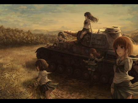 Tank - cielo, sky, campo, tank, tanque, uniform, chicas, uniforme, girls, field