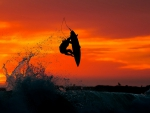 fantastic surfing at sunset