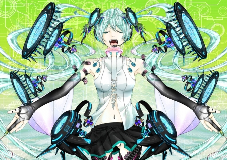 Hastune Miku - cool, skirt, miku, stereo, speakers, miku append, append, blue