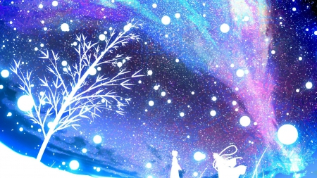Starry sky - colorful, tree, white shadows, starry sky