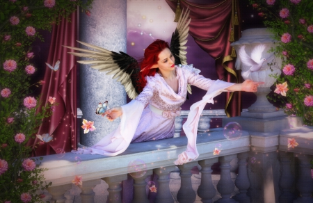 ✫Cheerful with the Angel✫ - pretty, redhead, angels, women, balconies, fantasy, splendor, bright, flowers, wings, lovely, models, cheerful, curtains, birds, ears, creative pre-made, cool, dove, messenger, dress, charm, beautiful, digital art, hair, girls, floating flowers, gorgeous, animals, female, colors, butterflies, roses, mixed media, weird things people wear