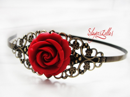 Gothic  Floral headband with Red Rose - red, headband, gothic, rose