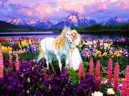 Fairy and White Horse - fantasy, mountains, flowers, blossoms, nature, landscape