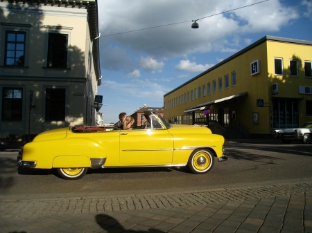 Power Meet Nossebro Sweden - people, buildings, car, crusing, yellow, clouds, sky, street