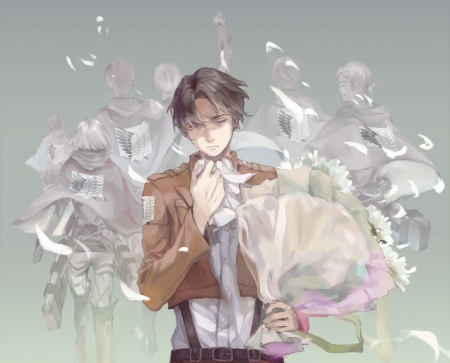 Rivaille - flowers, short black hair, guy, grey wallpaper, Rivaille, anime, Shingeki No Kiojin, male, manga, boy, black hair, short hair