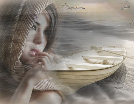 Springs air - fantasy, boat, lady, abstract
