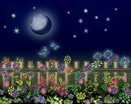 Night - flowers, stars, butterflies, moon, night, abstract, fence