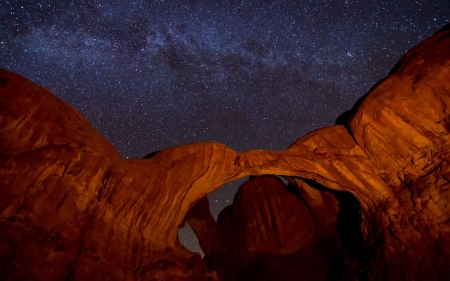 stars on a beautiful clear night in the desert - stars, desert, clear, cliffs, arch