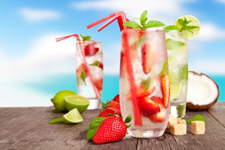 Fresh drinks - cocktail, mint, juice, strawberry, fresh, coconut, fruits, lime, glass, paradise, berry, summer, ice, drink, tropical