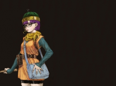 Lucca - hd, bag, video game, game, sunglasses, glases, anime, darkness, hot, anime girl, female, purple hair, sexy, rpg, plain, chrono trigger, short hair, cute, warrior, girl, dark, simple