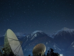 satellite dishes under a beautiful starry night